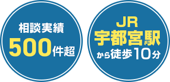 相談実績500件超 JR宇都宮駅から車で5分